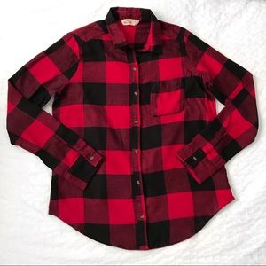 Hollister red plaid check flannel shirt